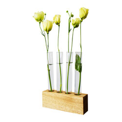Moss + Twig - Flower Bud Vase - These test tube bud vases are set into a solid white walnut base and are perfect for centerpieces and displays.