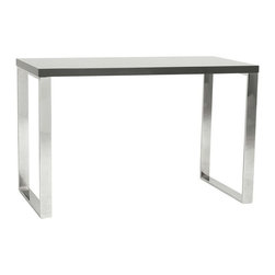 Eurostyle - Eurostyle Dillon Desk in Gray Lacquer / Polished Stainless Steel - Eurostyle - Computer Desks - 09815GRY - 8 square feet of solid, functional, never-go-out-of-style work surface. Available in a white lacquer or gray lacquer top, the Dillon desk sits firmly on chromed stainless steel base. Office. Studio. Reception. Let�s get to work!