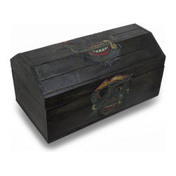 Zeckos - Wooden Pirate Treasure Chest Box Buccaneer - This cool hardwood treasure chest shaped storage box is a perfect accent to any nautical or pirate themed room. The box is hand-stained, and hand carved with a Caribbean pirate holding a knife in his mouth on the top. Measuring 19 inches long, 9.5 inches high, and 10.5 inches wide, it`s perfect for storing magazines, newspapers or anything else you want to keep in it. NOTE: Since it is hand-carved, there may be slight design differences from what is shown in the pictures.