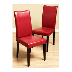 Warehouse of Tiffany - Shino Bi-cast Leather Dining Chairs in Red - Set of 2 Chairs. Features a contemporary design. Constructed of Oak. Bi-cast leather upholstery in vibrant Red color. 22.4 in. W x 17.7 in. D x 38.1 in. HUpdate your home decor with elegant bi-cast leather Shino dining chairs. Furniture features a contemporary design. Dining chairs are constructed of Oak with a light cappuccino hue. Bi-cast leather upholstery in vibrant Red color.