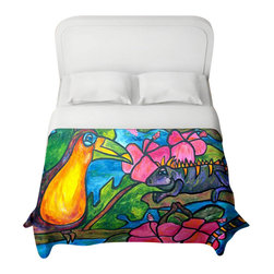 DiaNoche Designs - Iguana Eco Tour Duvet Cover - Lightweight and super soft brushed twill duvet cover sizes twin, queen, king. Cotton poly blend. Ties in each corner to secure insert. Blanket insert or comforter slides comfortably into duvet cover with zipper closure to hold blanket inside. Blanket not included. Dye Sublimation printing adheres the ink to the material for long life and durability. Printed top, khaki colored bottom. Machine washable. Product may vary slightly from image.