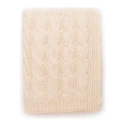 Natural Big Cable-Knit Throw - Adorn your abode with this luxurious natural cotton cable-knit throw. Great on sofas, chairs or beds. This knit throw is a stylish and comfy way to enhance your living space or bedroom with texture and warmth. 100% cotton.