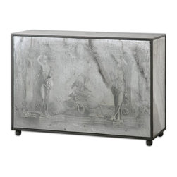 Uttermost - Uttermost Antheia Mirrored Console Table 24408 - Ancient stone scenery is reverse painted on antiqued mirror, with a wood frame and bun feet in soft black with gray and light brown accents and a gray wash.