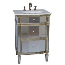 "Amazon.com: 24"" All Mirror Petite Bathroom Sink Vanity - Ashlie Model # HF006: H"