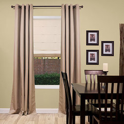Blinds.com Draperies - Elegance Grommet Insulated Drapery Panels. Whites and off - Elegance Grommet Insulated Drapery Panels - Buy with Confidence, Get Free Samples Today!The Elegance Grommet Insulated Panel from Blinds.com provides insulation and room darkening, great features for patio doors, media rooms, or large windows. Our drapery fabric is made from 100% polyester and heat bonded with a 100% acrylic foam lining for