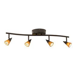 """ProTrack - Contemporary ProTrack® 200 Watt Amber/White Glass Bronze 4-Light Wave Bar - Clean and contemporary this wave bar track light kit provides instant glamour and visual appeal. It comes in a warm bronze finish. Four amber and four white glass shades are included so you can change the look as necessary. The four lights are fully adjustable. The perfect way to provide task or general room lighting. A great look for kitchens hallways or offices. Low voltage. Comes with a built in electronic transformer. Can be dimmed with an electronic dimmer. Bronze finish. Includes both amber and white glass shades. Includes four 50 watt MR-16 halogen bulbs. Glass is 2 1/2"""" wide and 2"""" high. Extends 7 1/2"""" from the ceiling. 31 1/2"""" wide. 33"""" wide with glass extended.  Bronze finish.  Includes both amber and white glass shades.  Includes four 50 watt MR-16 halogen bulbs GU 5.3 base .  Glass is 2 1/2"""" wide and 2"""" high.  Extends 7 1/2"""" from the ceiling.  31 1/2"""" wide.  33"""" wide with glass extended.  Transformer is 230 wattmax load."""