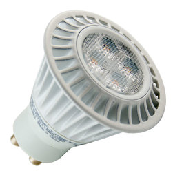 TCP - TCP 7W MR16 LED, 3000K, Dimmable Flood - The TCP LED7GU10MR1630KFL is an LED bulb with an MR16 shape and a 3,000K color temperature. It has an estimated average life of 30,000 hours. This LED lamp uses only 7 watts and has a GU10 base. it is a dimmable flood.