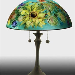 Barthell, Jamie - English Garden Reverse Hand Painted Glass Table Lamp - This beautiful hand painted glass table lamp shown here in the English Garden design, will make a stunning addition to any room. Each piece is an original work of art that is signed and numbered, and includes a certificate of authenticity