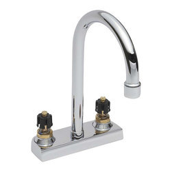 American Standard - Heritage Centerset Gooseneck Bathroom Faucet Less Handles and Drain in Chrome - American Standard 7400.000.002 Heritage Centerset Gooseneck Bathroom Faucet Less Handles and Drain in Chrome