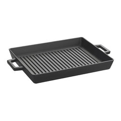Lava Metal Dokum San. Tic. A.S. - Lava ECO 10 in. x 12 in. Enameled Cast-Iron Grill Pan - Transform your stovetop into a Grill in seconds with Lava's ECO Series Enameled Cast Iron Grill Pan.  The 10 inch x 12 inch premium enameled cast iron grilling surface of this grill pan ensures that everything from Rib Eyes to Zucchini cooks evenly and perfectly every time.  This perfect size enameled cast iron grill pan efficiently works over one or two stove top heating elements as cast iron evenly distributes heat over the pan's cooking surface.  It's the perfect pan for stove top grilling and oven finishing thick cuts of meat. ECO premium cast iron offers a super-tough matte enamel finish and uniquely designed grill bars that heat uniformly and efficiently ensuring superb cooking performance, easy cleanup and incredible durability.    ECO grill pans offer a non-reactive cooking surface that doesn't absorb or transfer flavors or other chemicals to your food like pre-seasoned cast iron or other non-stick surfaces can do.