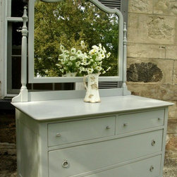 Shabby Chic Paris Grey Dresser - Drawers have mint interiors and slide effortlessly.  FREE DELIVERY in Toronto, Dufferin County & Wellington County. Monica Vida & Peter Balonjan