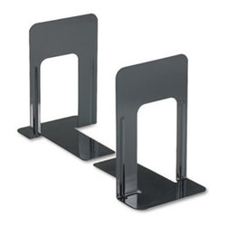 Universal - Economy Bookends, Nonskid, 5 7/8 X 8 1/4 X 9, Heavy Gauge Steel, Black - Reinforced bookends hold large and heavy books. Smooth edges and reinforced ribbing coated with a hard enamel finish. Nonskid padded base. Material(s): Heavy Gauge Steel; Color(s): Black; Finish: Hard Enamel.
