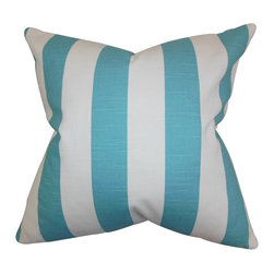 """The Pillow Collection - Acantha Stripes Pillow Coastal Blue 18"""" x 18"""" - Let this throw pillow add a contemporary vibe to your home with its striking stripe pattern. This accent pillow uses an airy color palette in shades of blue and white. Toss this decor pillow with solids and other patterns. Provide endless comfort to your living room or bedroom with the use of this 18"""" pillow. Made of 100% soft cotton fabric. Hidden zipper closure for easy cover removal.  Knife edge finish on all four sides.  Reversible pillow with the same fabric on the back side.  Spot cleaning suggested."""