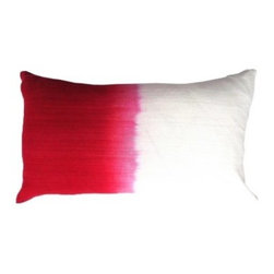5 Surry Lane - Magenta Pink Ombre Dip Dye Silk Lumbar Pillow - Saturated colors are juxtaposed with creamy ivory in this ombre-hued pillow. The striations of color from the dyeing process give it a hand-painted feel. In your formal living room, it will add a spark of jewel-toned color.