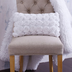 """White Textured Rosette Pillow - A blooming garden of petite roses on a field of soft creamy chiffon. Ivory chiffon with small rosettes covers the front of this oblong decorative pillow. Guaranteed to enhance your home decor. 'Elizabeth Pillow"""""""