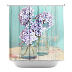 DiaNoche Designs - Shower Curtain - Hydrangeas in Mason Jars - Sewn reinforced holes for shower curtain rings. Shower Curtain Rings Not Included. Dye Sublimation printing adheres the ink to the material for long life and durability. Machine Washable. Made in USA.