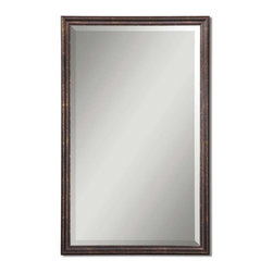 """Uttermost - Uttermost 14442 B Renzo Vanity Mirror In Bronze - Frame is finished in distressed bronze with gold leaf highlights. Mirror has a generous 1 1/4"""" bevel."""