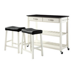 Crosley Furniture - Kitchen Cart with 24 in. Upholstered Saddle S - Includes two stools. Solid black granite top. Adjustable/removable shelf. Towel bar. Two deep drawers. Beautiful raised panel drawer fronts. Brushed Nickel hardware. Warranty: 90 days. Made from solid hardwood, wood veneers and solid granite. Hand rubbed, multi-step finish. White Finish. Assembly required. 42 in. W x 18 in. D x 36 in. H (136 lbs.)Mobile kitchen cart is designed for longevity. The handsome raised panel drawer fronts provide the ultimate in style to dress up any culinary space. Remove the shelf completely to allow for storing larger objects. The heavy duty casters provide the ultimate in mobility. When the cabinet is where you want it, simply engage the locking casters to prevent movement. Style, function, and quality make this mobile solution a wise addition to your home.