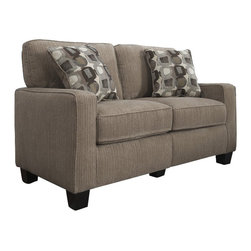 "Serta by True Innovations - Serta Santa Cruz Love Seat in Platinum Fabric - Serta by True Innovations - Loveseats - CR43529PB - For more than 75 years Serta has been an industry leader in comfort products worldwide. That tradition of innovation and quality continues today. From a brand that is synonymous with quality comfort and style the Serta Santa Cruz Collection Love Seat offers many attractive features that you're going to love. Starting with its Tool-free EZ assembly which is the most convenient and stress free on the market today. This product goes from box to built in mere minutes. But that's just the beginning this love seat is generous and comfortable as well. In fact you might find it a great place for a nap! Here's why: Starting from the ground up you have a solid stance on real wood legs. Next the lower foundation is constructed with hardwood materials and the tried and true method of mechanically fastened and glued hardwood plywood corner blocks that reinforce the frame and sturdiness along with track style arms with corrugated reinforced outer-sides. Attached to that are heavy-duty 8 gauge anti-sag sinuous springs secured and joined with a double row of tie wire. This forms a comfortable supportive and lasting seating structure. Resting upon this are seat cushions with rows of individually pocketed comfort coils surrounded by high density seating foam and premium quality poly-fibers on top. This cushion system forms the basis of our ""sit down and sink in"" feel. Behind that you have the upper structure which consists of more hardwood material and a matrix of non-woven strapping that form a dense and sturdy back structure. In front of that are the pillowed back cushions. These consist of an inner poly-fiber core contained in a non-woven cover to help maintain shape and density. Wrap the whole thing in a lush and luxurious 100% polyester Platinum Fabric and you have a gorgeous piece for any living space. 1 year limited warranty. Product assembly is required. Designed in the USA."