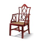 Red Openwork Chair - This fretwork Chinese chippendale chair is a classic that is an ideal choice for a dining room or office.