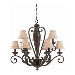 Triarch International - Triarch 31444 Jewelry Harvest Bronze 9 Light Chandelier - Triarch 31444 Jewelry Harvest Bronze 9 Light Chandelier