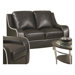 """Coaster - Love Seat (Black) By Coaster - This loveseat will bring stylish and contemporary flare to your living room. It is finished in a beautiful black bonded leather and has a unique white stitching edge. Matching sofa and chair are sold separately. Dimensions : 63"""" x 38.5"""" x 39"""""""