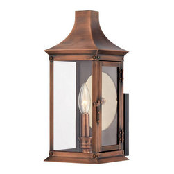 Quoizel Lighting - Quoizel SLM8306AC Salem 1 Light Outdoor Wall Light, Aged Copper - This collection gives you the historic look of gas lighting, but without the hassle of a propane feed. It is all electric and solid copper, giving your home the romantic, reproduction style of antique gas lights still popular today on many charming homes.