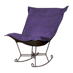 Howard Elliott - Bella Eggplant Puff Scroll Rocker - Mahogany Frame - If you have ever sat in our puff chair, you would ask yourself, hat could possibly make this chair more comfortable? Well the puff chair in our Bella fabric is the answer. This super lush fabric in rich vivid colors will make the puff chair the most comfortable and soft chair you have ever sat in!