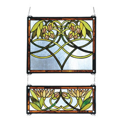 Meyda Tiffany - Meyda Tiffany Waterlily 2 Piece Window X-33272 - Featuring waterlily detailing, this Meyda Tiffany two piece window is a delightful addition to kitchens, guest rooms, bathrooms and more. It features soft pale blues paired with water lilies in shades of lime and spring green. Brown toned trim completes the look.