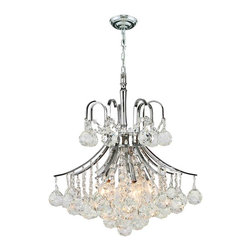 "Worldwide Lighting - Empire 6-Light Chrome Finish & Clear Crystal Chandelier 16"" D x 15"" H Mini Small - This stunning 6-light crystal chandelier only uses the best quality material and workmanship ensuring a beautiful heirloom quality piece. Featuring a radiant chrome finish and finely cut premium grade crystals with a lead content of 30%, this elegant chandelier will give any room sparkle and glamour."