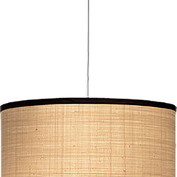 Jamie Young Co. Large Drum Pendant - This is what we know as the ever popular fabric drum shade. I love the textured and simple chocolate banding. This light is one that could be moved from room to room over time!