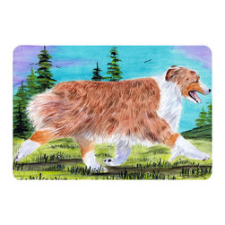 Caroline's Treasures - Australian Shepherd Kitchen or Bath Mat 20 x 30 - Kitchen or Bath Comfort Floor Mat This mat is 20 inch by 30 inch. Comfort Mat / Carpet / Rug that is Made and Printed in the USA. A foam cushion is attached to the bottom of the mat for comfort when standing. The mat has been permanently dyed for moderate traffic. Durable and fade resistant. The back of the mat is rubber backed to keep the mat from slipping on a smooth floor. Use pressure and water from garden hose or power washer to clean the mat. Vacuuming only with the hard wood floor setting, as to not pull up the knap of the felt. Avoid soap or cleaner that produces suds when cleaning. It will be difficult to get the suds out of the mat.