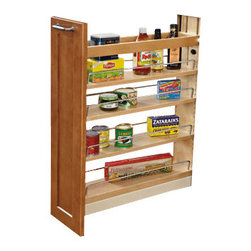 "Rev-A-Shelf - Rev-A-Shelf 448-BCBBSC-5C 5"" Pullout Maple Base Cabinet Organizer - Store your kitchen items in style with this organizer that comes fully assembled and installs easily into an existing base cabinet. It operates smoothly and efficiently with concealed bottom mounted soft close ""tri-slides"", features three adjustable shelves with sharp looking chrome rails, and is built to last. Crafted from high-quality maple and finished with a clear UV coating, this handy kitchen product allows you to easily pull your cupboard out into your kitchen space to find what you're looking for. It's not uncommon for items to fall behind or underneath a drawer and become difficult - maybe even impossible to reach. That will no longer be a concern! The Rev-A-Shelf 448-BCBBSC-5C comes equipped with a rear wall that you can adjust to accommodate the size of your cabinet space. This feature is guaranteed to keep all of the items that you plan to store exactly where they belong. This pullout cabinet organizer is designed for full-height face frame base cabinets that measure 9"" or 12"" wide, and is easy to mount to virtually any door style thanks to the patented door mount brackets that provide up to 5 inches of flexibility. If you're looking for a practical, modern solution for your organizational needs, this base cabinet pullout unit is an excellent choice for your kitchen. Physical specifications: 5"" W x 21-10/16"" D x 25-1/2"" - 29-1/2"" H. Minimum Cabinet Opening Required: 5-1/2"" W x 21-3/4"" D x 25-10/16"" H."