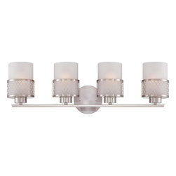 Nuvo Lighting - Nuvo Lighting 60-4684 Fusion 4-Light Vanity Fixture with Frosted Glass - Nuvo Lighting 60-4684 Fusion 4-Light Vanity Fixture with Frosted Glass