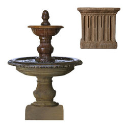 Campania International - San Pietro Fountain - Aged Limestone (AL) - Weighs 842 lbs. Shipping is available throughout the continental United States. As these fountains are made to order,_please allow 4 to 6 weeks for delivery. Drop ship is curbside delivery only.