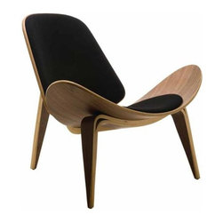 Nuevo Living - Artemis Lounger Chair by Nuevo, Black Fabric and American Walnut - The Artemis Lounger chair features 100% black microfiber and an American walnut veneer on bent plywood frame.  This modern classic furniture will spruce up your home or office.