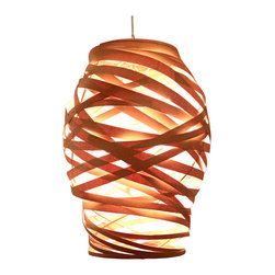 """Bodner Chandeliers - Beehive Glow Chandelier - Award winning Beehive chandelier, hand woven in sustainably harvested maple wood over a steel interior spiral frame. The six light interior spiral accepts 25watt type """"B"""" candle lamps (can be rated for use with 7 watt LED lamps upon request). Lightweight and stunning day or night, this piece can be used with a dimmer and is UL listed for indoor use. Provided with a 3' cable, additional cable/cord upon request. 110v"""