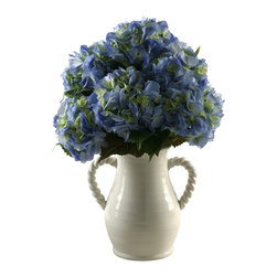 "D&W Silks - Artificial Blue Hydrangeas in White Ceramic Vase - It's amazing how much adding a plant can change the look of a room or decor, but it can be difficult if your space is not conducive to growing plants, or if you weren't exactly born with a ""green thumb."" Invite the beauty of nature into your home without all the upkeep with this maintenance-free, allergy-free arrangement of artificial blue hydrangeas in a white ceramic vase. This is not a living plant."