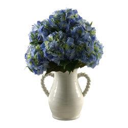 D&W Silks - D&W Silks Blue Hydrangeas In White Ceramic Vase - Blue hydrangeas in white ceramic vase