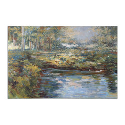 Uttermost - Lake James Hand Painted Wall Art - Start an heirloom-worthy art collection in your favorite space with this lovely landscape painting. The oil canvas features a lakeside scene in a rich autumn palette of golden yellows, luscious greens and crystal blues.