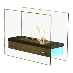 Nu-Flame - Nu-Flame Ardore - Italian for fiery passion, the elegant Ardore fireplace lives up to its name. A large capacity stainless steel burner is capped with a sleek black cover drawing attention to the dancing flames. The burner is suspended between two thick tempered glass panels which reflect and enhance the fire. Easily adjust the flame height or extinguish it completely with the provided dampener tool. Fuel not included, we recommend using Nu-Flame Bio-Ethanol Fuel. For indoor use only.