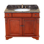 "Bosconi - 39"" Bosconi T-3626 Single Vanity - You'll fall in love with this ornate yet practical wood and marble vanity with two drawers and a spacious two-door cabinet."