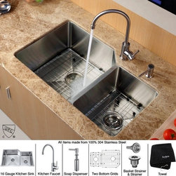 Kraus - 32 in. 60/40 Double Bowl Kitchen Sink with Faucet and Soap Dispenser - Add an elegant touch to your kitchen with unique Kraus kitchen combo