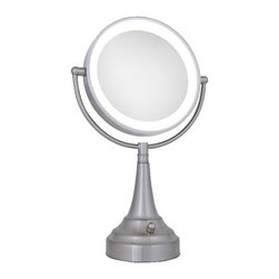 Zadro - Round LED Lighted Vanity Mirror - Zadro's Round LED Lighted Vanity Mirror features dual-sided, optical quality glass to ensure a clearer reflection of your true self. On one side, the 10X magnification is great for touch-ups, detail, and make-up application. On the other side, the 1X magnification is perfect for all-around hairstyling, cosmetics, and every beauty need in between.