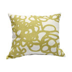 """Area Inc. - Daisy Linden Medium Decorative Pillow  17X19.5"""" - Area Inc. - Add a fun print to your couch or bed using the 17-by-19.5 inch Daisy Linden Decorative Pillow. Featuring a tangled green loop pattern on an off-white linen background, this pillow has a bold look that pairs well with contemporary or eclectic decor. Includes a feather down insert."""