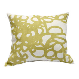 "Area Inc. - Daisy Linden Medium Decorative Pillow  17X19.5"" - Area Inc. - Add a fun print to your couch or bed using the 17-by-19.5 inch Daisy Linden Decorative Pillow. Featuring a tangled green loop pattern on an off-white linen background, this pillow has a bold look that pairs well with contemporary or eclectic decor. Includes a feather down insert."