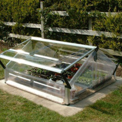 """Poly-Tex, Inc. - Cold Frame - Double Greenhouse - The double cold frame is perfect for starting seeds and protecting fragile sprouts from cool nights. It is 41"""" wide x 41"""" deep and the peak is 21"""" high with two adjustable lids. You can remove the lids for easy access to your plants. Offering clear polycarbonate SnapGlas panels for full sun exposure and aluminum framework, you'll enjoy greenhouse benefits on a backyard scale with this affordable cold frame."""