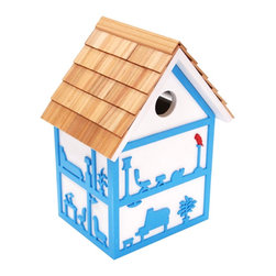 Home Bazaar - Bird Roomz Birdhouse - This Mod design is totally whimsical!  The inside is outside, and the outside is fun to look at. Each side features lively 3D images of what could be going on inside a birds house if birds lived like humans.  It asks the question: would birds really have a cat as a pet?  Fully Furnished, Grand Piano included! Waiting for right tenant. Must have wings.