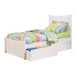 Atlantic Furniture - Twin Manhattan Platform Bed / Matching Footboard / Panel Drawers / White - You can easily make your bedroom more comfortable and practical with this Manhattan Platform Bed with Matching Footboard by Atlantic Furniture. The bed comes with curved headboard, durable frame made of solid Asian hardwood with white finish, and flat panel drawers. This price is for Twin bed with Flat Panel Drawers.