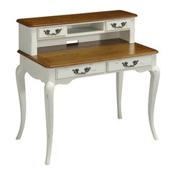 Home Styles - Home Styles French Countryside Oak and Rubbed White Student Desk - 5518-16 - Shop for Childrens Desks from Hayneedle.com! Sized for the contemporary student s bedroom the Home Styles French Countryside Oak and Rubbed White Student Desk brings rich historic character to a functional everyday furnishing. French countryside details such as cabriole legs and sculpted trim are thoughtfully paired with large multi-purpose storage drawers including an optional hutch with two drawers and a center shelf that can hold notebooks or a small laptop (a small cable access hole in the hutch allows for easy recharging). Crafted from durable poplar solids and engineered woods this charming desk features oak veneers in a heavily rubbed hand-distressed finish of oak and white.About Home Styles?Home Styles is a manufacturer and distributor of RTA (ready to assemble) furniture perfectly suited to today's lifestyles. Blending attractive design with modern functionality their furniture collections span many styles from timeless traditional to cutting-edge contemporary. The great difference between Home Styles and many other RTA furniture manufacturers is that Home Styles pieces are crafted from solid wood and feature quality hardware that will stand up to years of use. When shopping for convenient durable items for the home look to Home Styles. You'll appreciate the value.